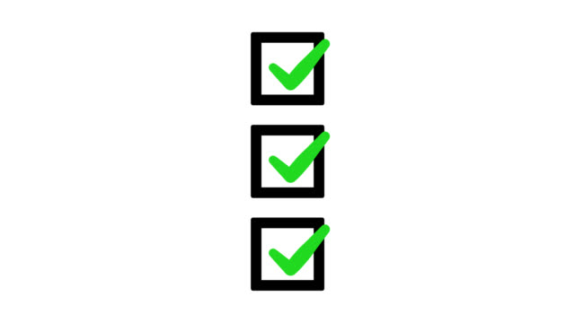 Green check mark sign tick on black square check list boxes on white background.
