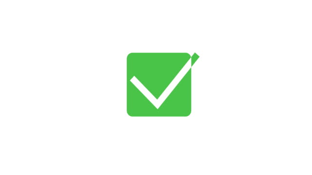 Green check mark symbol. Tick sign in green color. 4K video
