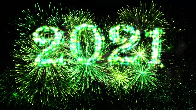 Green Color Fireworks Display countdown 2021 4K. video