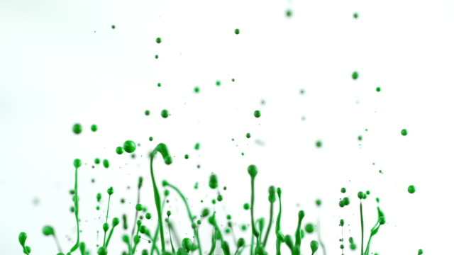 SLO MO Green color lifted into air creating beautiful splashes video