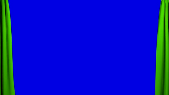Green Curtains opening and closing stage theater cinema blue screen video