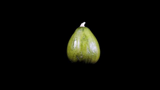 green decorative pumpkins rotate on a black background - zucca legenaria video stock e b–roll