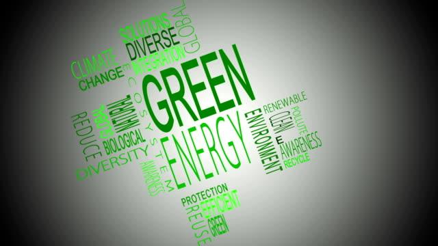 Green energy buzzwords montage
