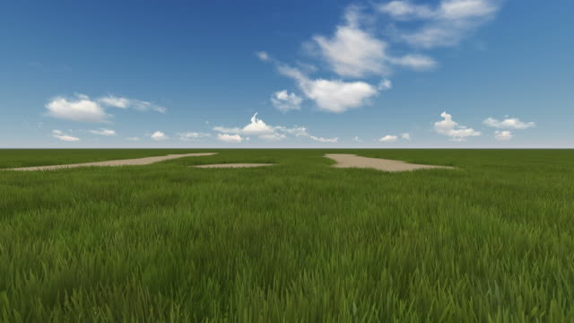Green Field And Cloudy Sky Made In Lumion Stock Video - Download