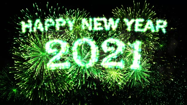 Green Fireworks Display Happy new year 2021 video