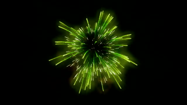 green fireworks holiday background, luma matte attached - petardo video stock e b–roll