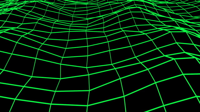 Green floating wireframe. video