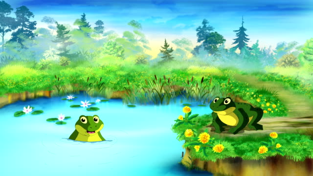 Green Frog Near the Pond UHD Green Frog Sitting and Croaking Near the Pond in a Summer day. Handmade animated  UHD motion graphic. amphibian stock videos & royalty-free footage