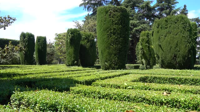 grüner garten mit gepflegten sträuchern, die gärten von sabatini in madrid. - grundstück stock-videos und b-roll-filmmaterial