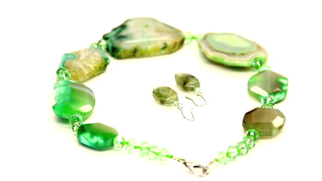 Green Gem Stone Necklace and Earrings HD video
