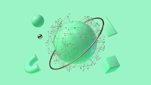 green geometric shape 3d rendering abstract motion video