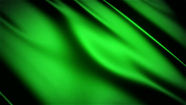 Green glossy cloth satin realistic seamless loop waving animation video