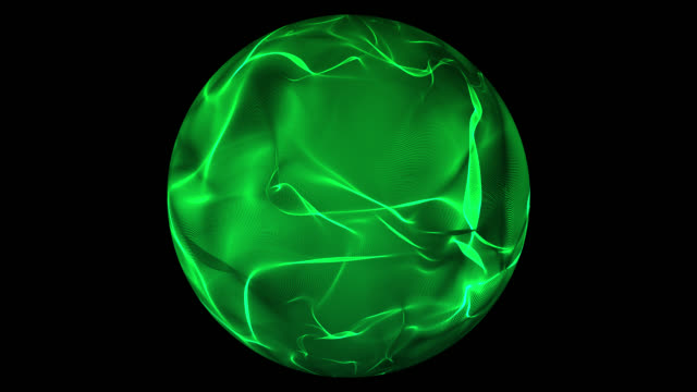 Green glowing energy ball over transparent background video
