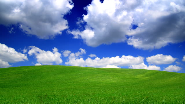 Green hill and blue sky-HD video