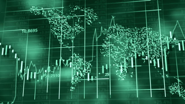 Green hi-tech background - stock diagrams, graphs and tables