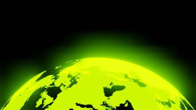 Groene holografische bol op zwarte achtergrond. video