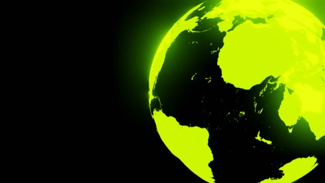 Groene holografische bol op zwarte tekstruimte. video