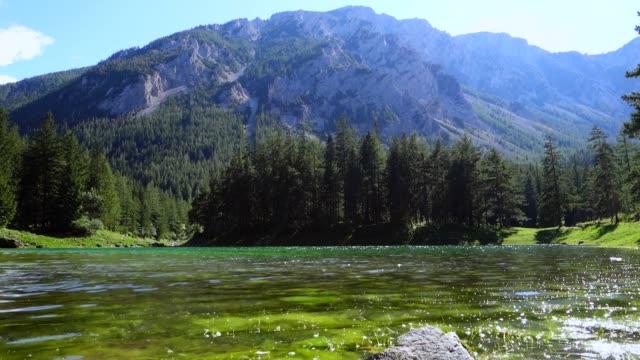 green lake, tragöß, styria, austria - styria filmów i materiałów b-roll
