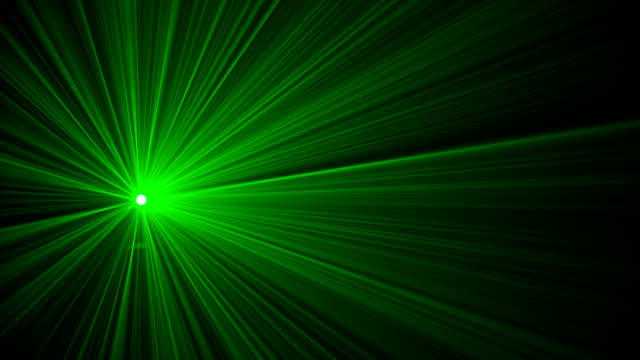 Green laser light in fog with red flashing video