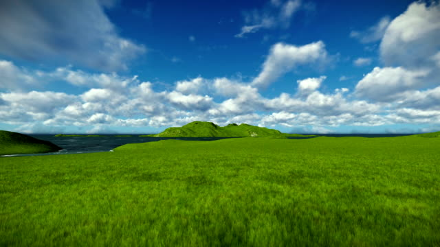 Green meadow and ocean against beautiful timelapse clouds video