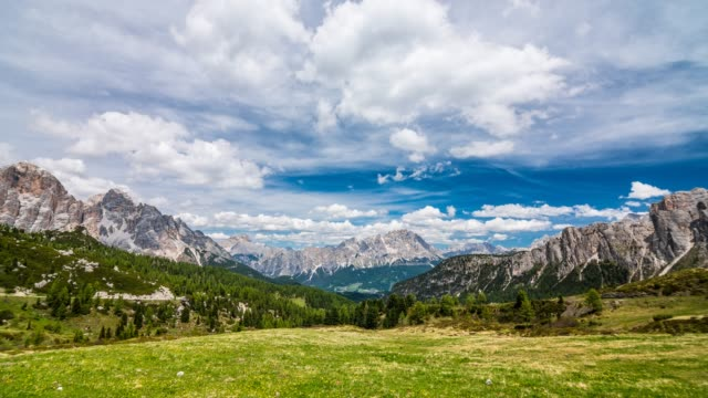Green meadow surrounded by mountains on a beautiful day time lapse
