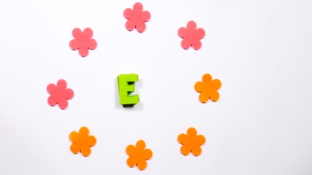 green moving, dansande bokstaven e i det engelska alfabetet. dansande brev på en vit bakgrund. - e post bildbanksvideor och videomaterial från bakom kulisserna