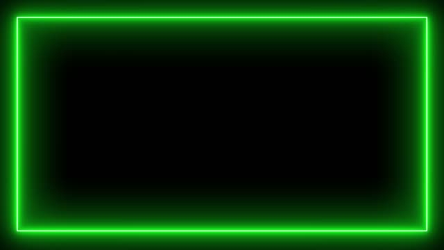 green neon light frame light up. fluorescent lamp frame. - rama obrazu filmów i materiałów b-roll