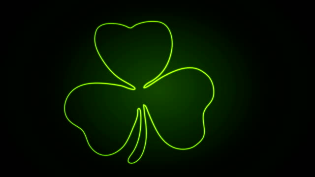 Green neon shamrock clover abstract video animation video