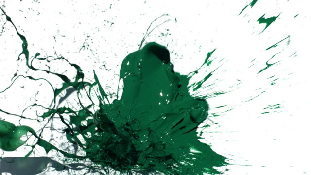 Green paint splattering on white background video