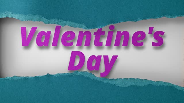 Green paper is torn over words Valentine's Day on white background, stop motion, animation. St. Valentine's Day.