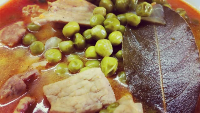 Green peas with meat, close up meal 4k video video