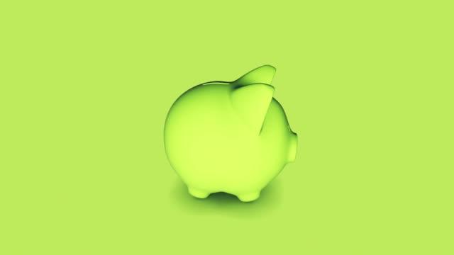 Green Piggy Bank 4K