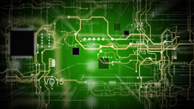 A green printed circuit board background