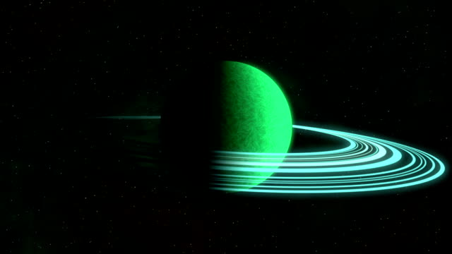 Green rotating planet with rings video