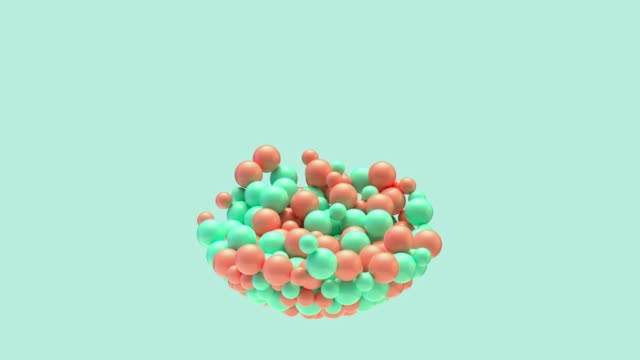 green scene orange ball 3d rendering motion abstract video