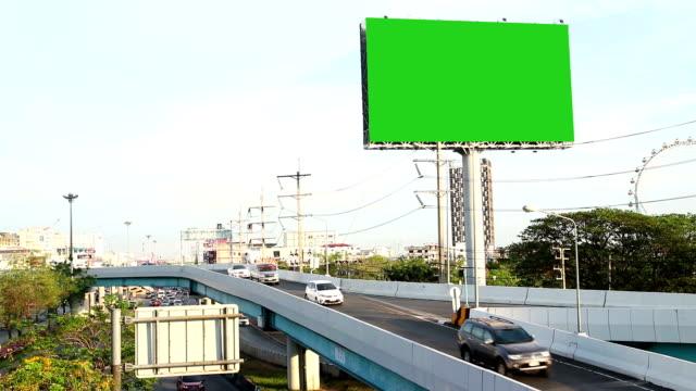 green screen advertising billborad on the road video