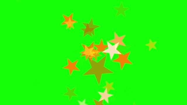 緑色の画面と星の運動 - 星型点の映像素材/bロール