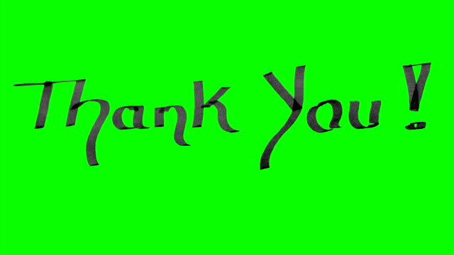 Green screen animation calligraphy writing thank you with black ink on paper texture video