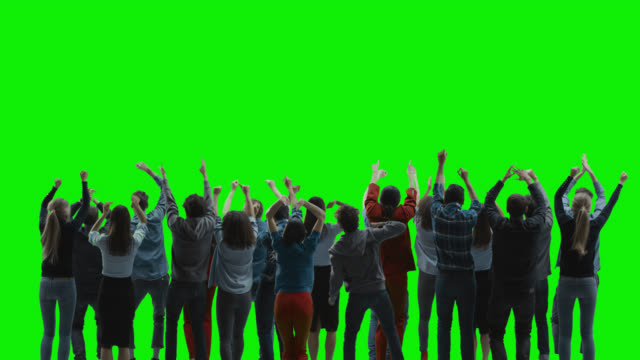 Green Screen: Big Crowd of People Having Fun, Applauding, Jumping, Celebrating at Sport Event, Concert, Festival Party. Back View. Chroma Key, Black Screen, Silhouette White People on Black Background Green Screen: Big Crowd of People Having Fun, Applauding, Jumping, Celebrating at Sport Event, Concert, Festival Party. Back View. Chroma Key, Black Screen, Silhouette White People on Black Background professional people stock videos & royalty-free footage
