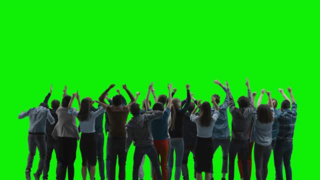 Green Screen: Big Crowd of People Having Fun, Cheering, Jumping, Celebrating at Sport Event, Concert, Festival, Party. Back View. Chroma Key, Black Screen, Silhouette White People on Black Background