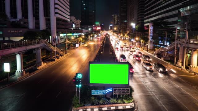 4K : Green screen billboard at night video