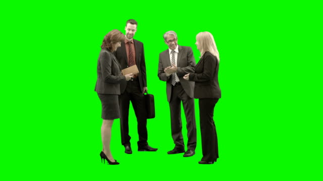 Green screen Business people conversation happy Green screen Business people standing stock videos & royalty-free footage