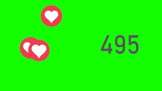 green-screen closeup zähler der mag mit herzen gesammelt - emojis stock-videos und b-roll-filmmaterial