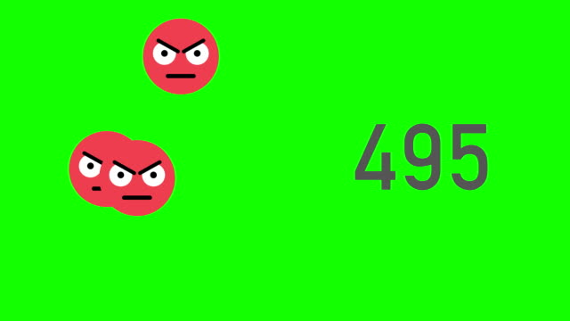 vídeos de stock e filmes b-roll de green screen closeup counter of unlikes being accumulated with angry emojis - mensagens online