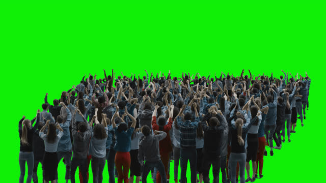 Green Screen: Crowd of People Having Fun, Cheering, Applauding, Celebrating at Sport Event, Concert, Festival, Party. Back View. Chroma Key, Black Screen, Silhouette White People on Black Background