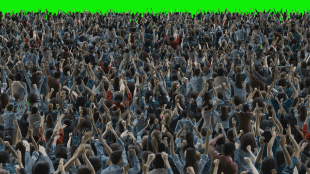 Green Screen: Crowd of People Having Fun, Cheering, Applauding, Celebrating at Sport Event, Concert, Festival, Party. Back View. Chroma Key, Black Screen, Silhouette White People on Black Background video