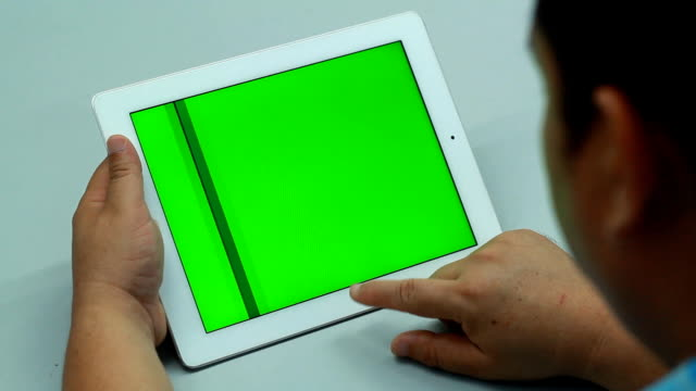 Green screen Digital tablet with breakfast video