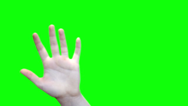 Green screen female hand waving with matte