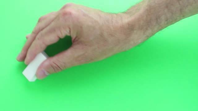 Green screen Hand movement with rubber