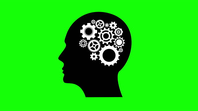 Green Screen, Human Intelligence or Creativity, Gears Turning Inside a Silhouette Head, Brain Mechanics, Contemporary Art Depictiong Having a Bright Idea, Opinion, Solution, Philosophy, Notion, Mind, Thought, Guess, Perception